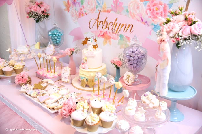 first birthday party ; Baby-Unicorn-1st-Birthday-Party-via-Karas-Party-Ideas-KarasPartyIdeas