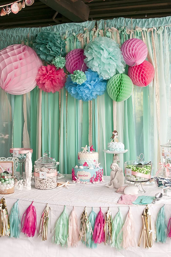 first birthday party ; Littlest-Mermaid-1st-Birthday-Party-via-Karas-Party-Ideas-KarasPartyIdeas