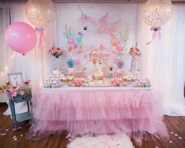 first birthday party ; baby-unicorn-birthday-party-dessert-table