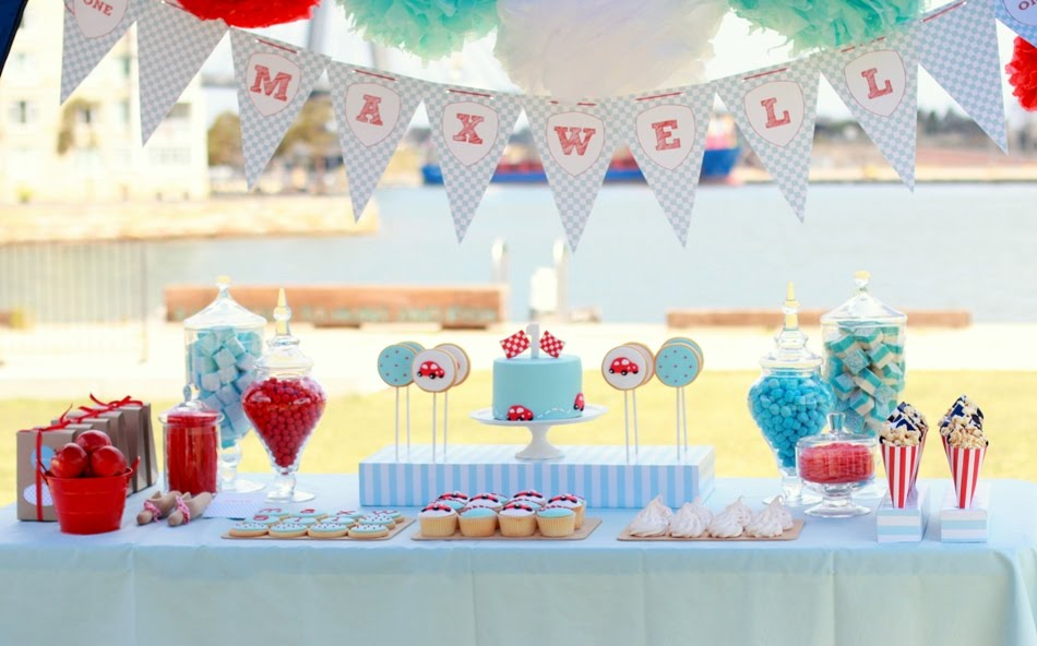 first birthday party ; red-blue-race-car-first-birthday-party