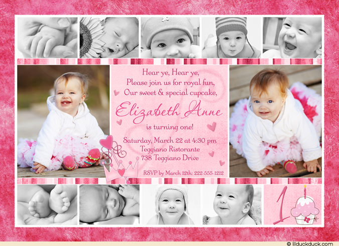 first birthday picture collage ; Princess-cupcake-Collage-Birthday-Card-11-photo-all-pink-stripe-1st