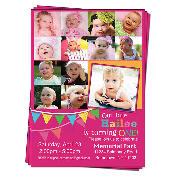 first birthday picture collage ; collage-birthday-invitations-items-similar-to-first-1st-birthday-invitations-photo-collage