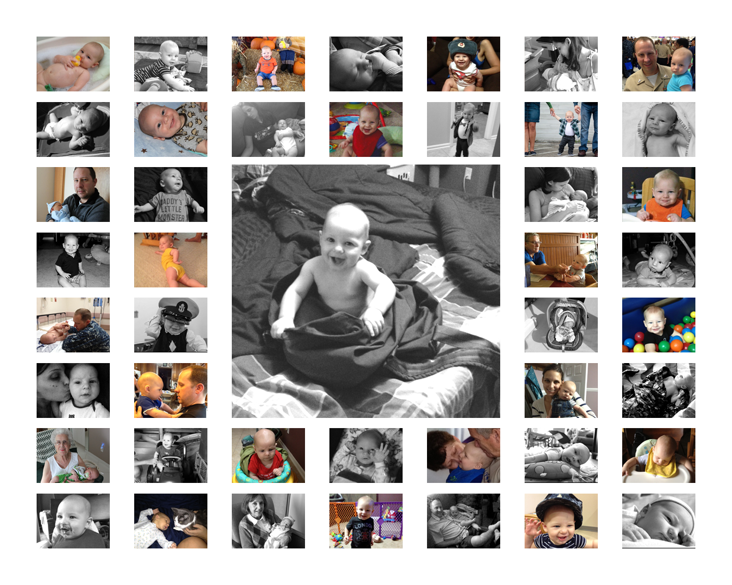 first birthday picture collage ; colt-collage