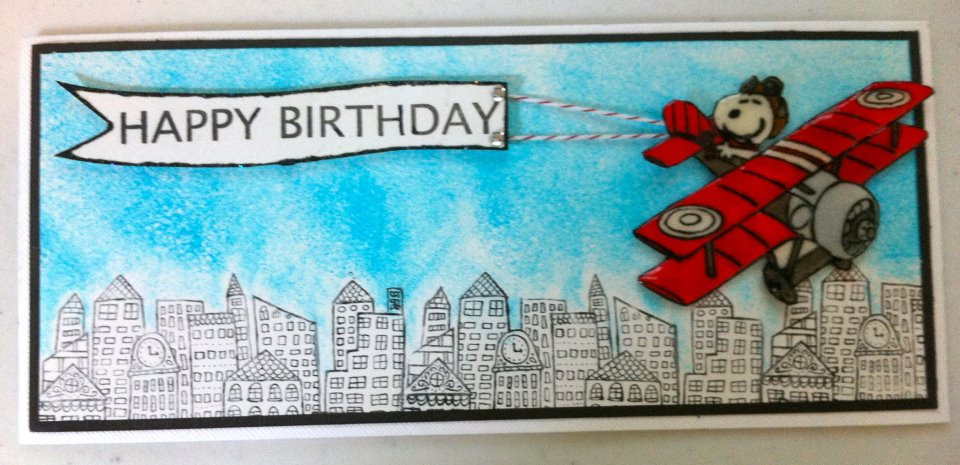 flying birthday card ; Snoopy+flying+by+to+say+Happy+Birthday!