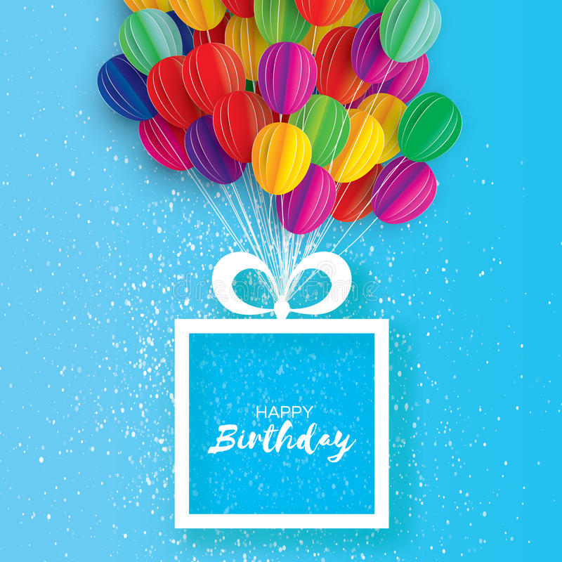 flying birthday card ; colorful-flying-paper-cut-balloons-happy-birthday-greeting-card-origami-gift-box-space-text-square-frame-realistic-90080210