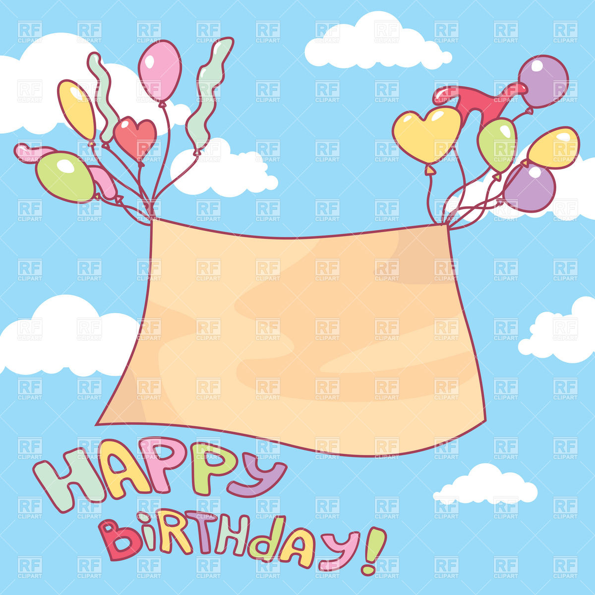 flying birthday card ; empty-banner-flying-on-balloons-birthday-card-Download-Royalty-free-Vector-File-EPS-40485