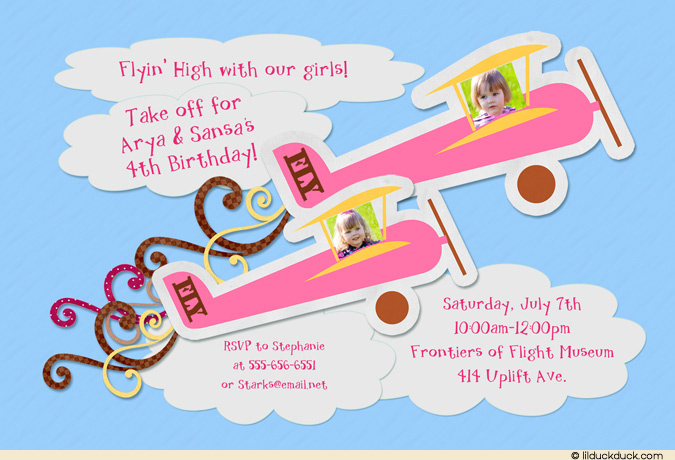 flying birthday card ; flying-high-plane-girl-birthday-double-twin-party