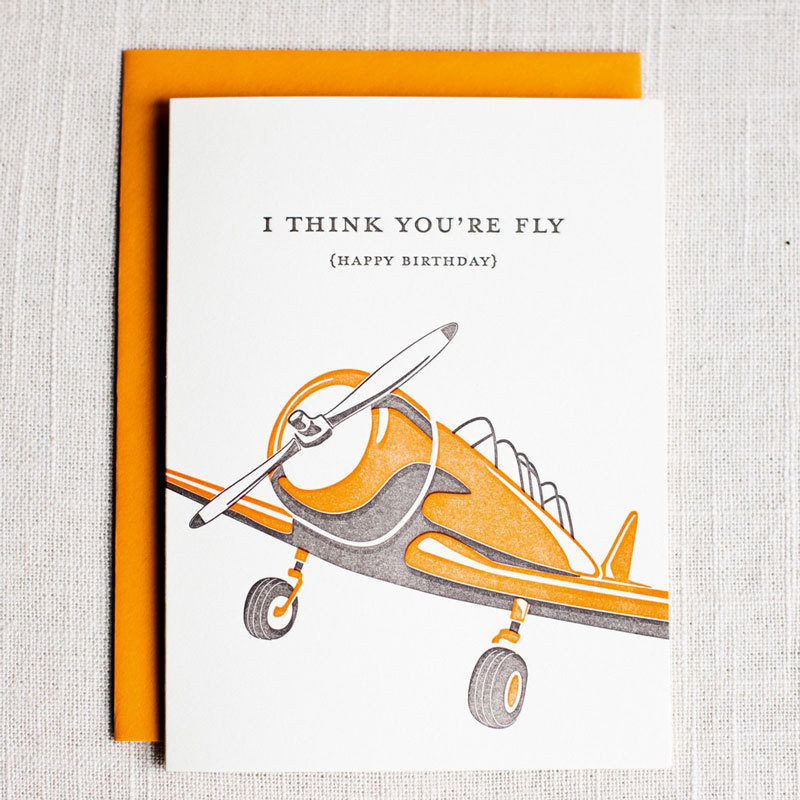 flying birthday card ; ink_iron-i-think-youre-flying-card