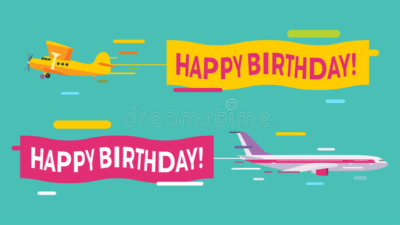 flying birthday card ; plane-flying-happy-birthday-banners-planes-greeting-card-vector-64896231