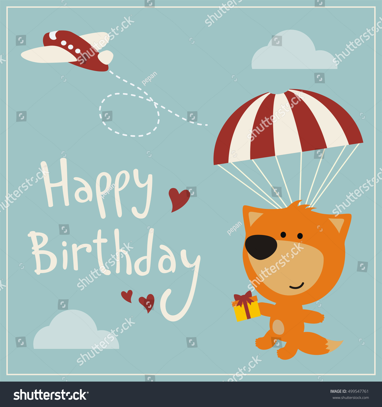 flying birthday card ; stock-vector-happy-birthday-funny-fox-flying-on-parachute-with-gift-in-cartoon-style-greeting-card-499547761