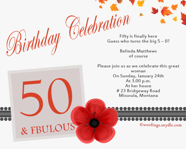 formal invitation wording for birthday party ; 50th-birthday-celebration-invitation-cards