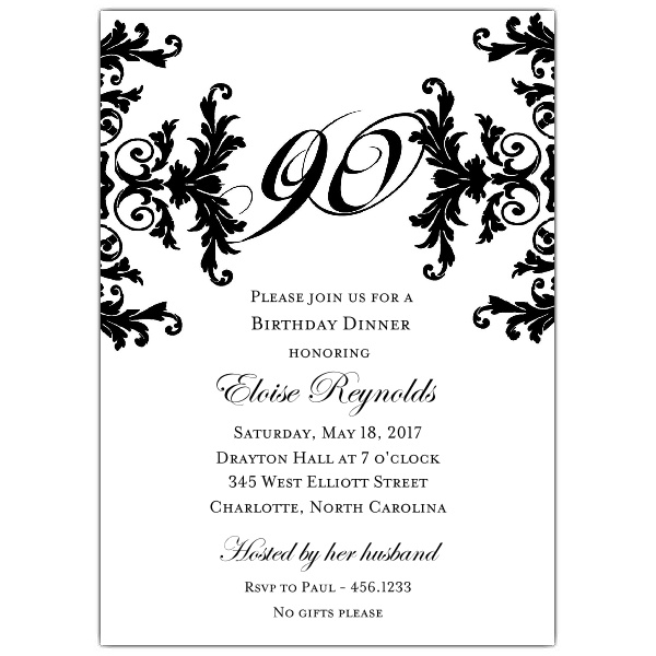 formal invitation wording for birthday party ; Black-And-White-Deco-Fabulous-Wording-For-90th-Birthday-Party-Invitations
