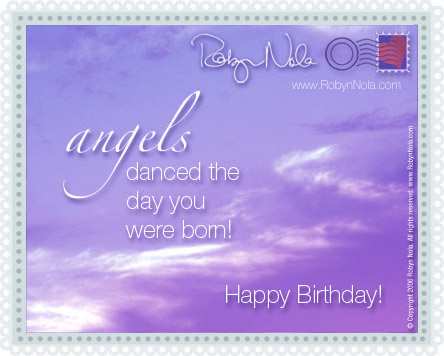 free angel birthday greeting cards ; 302191