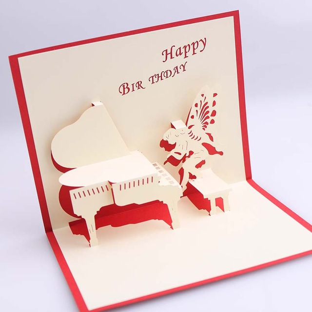 free angel birthday greeting cards ; Handmade-3D-Pop-UP-Birthday-Greeting-Cards-with-Piano-Angel-Free-Shipping-set-of-10