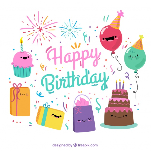 free birthday graphics ; colorful-background-with-smiling-birthday-items_23-2147603471