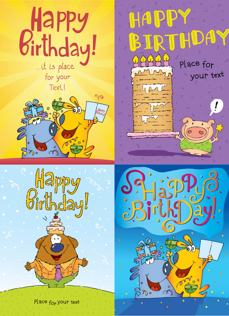 free funny birthday card templates ; funny-happy-birthday-cards-vector