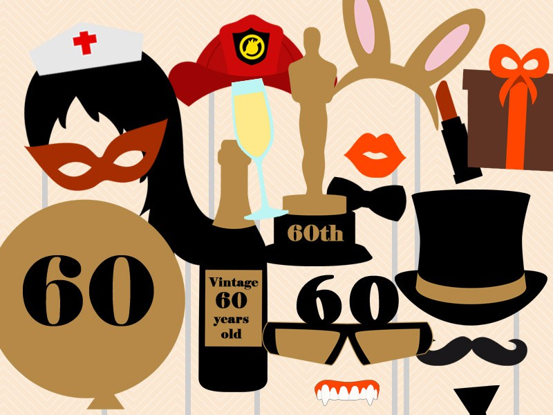 free printable 30th birthday photo booth props ; 60