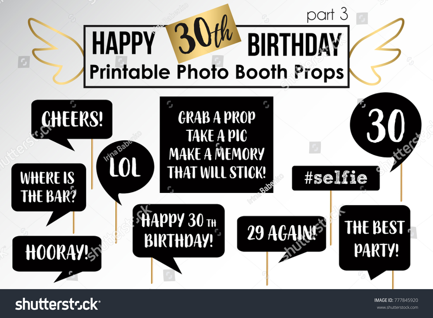 free printable 30th birthday photo booth props ; stock-vector-thirtieth-birthday-party-printable-photo-booth-props-777845920-1