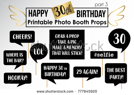 free printable 30th birthday photo booth props ; stock-vector-thirtieth-birthday-party-printable-photo-booth-props-777845920