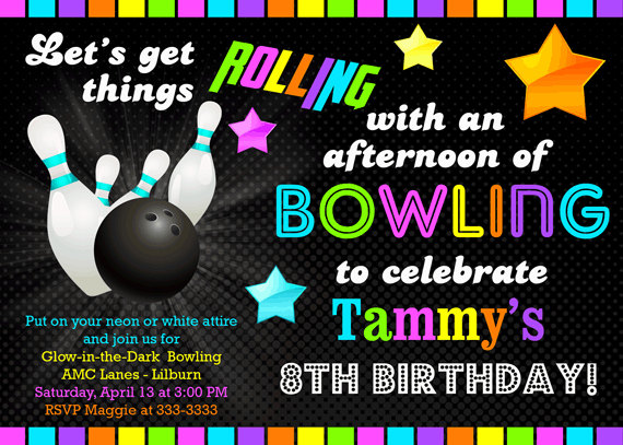 free printable bowling birthday party invitations for kids ; Free-Printable-Glow-In-The-Dark-Birthday-Invitation-Ideas