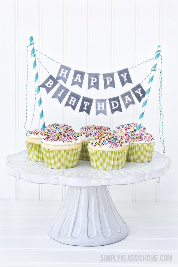 free printable happy birthday cake topper ; chalkboard+printable+alphabet+bunting+with+cupcakes