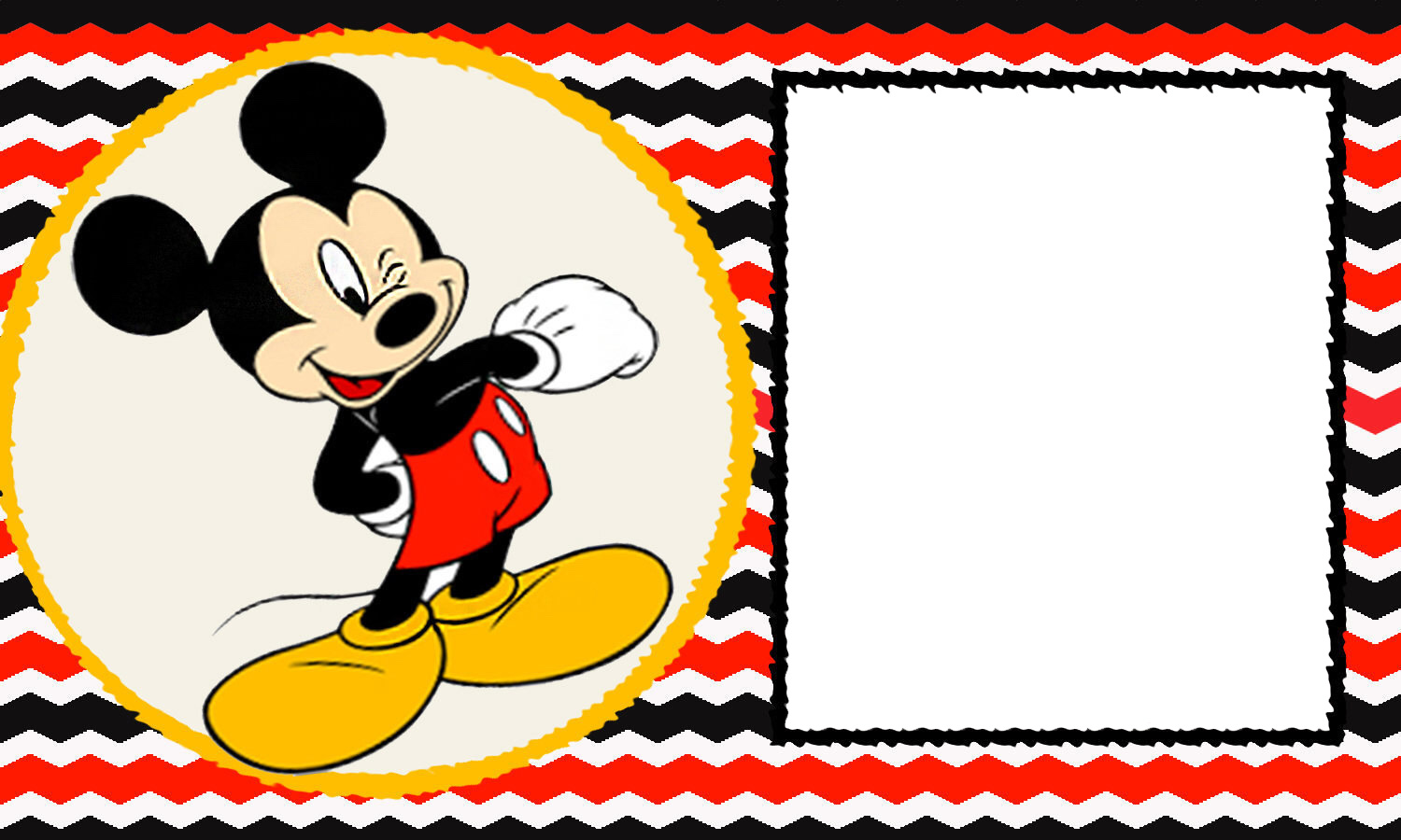 free printable mickey mouse 1st birthday invitations ; FREE-Blank-Mickey-Mouse-1st-Invitation-Chevron-Template