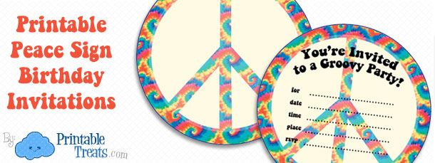 free printable tie dye birthday invitations ; free-peace-sign-invitations