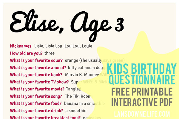 fun things for kids birthday ; birthday-questionnaire-free