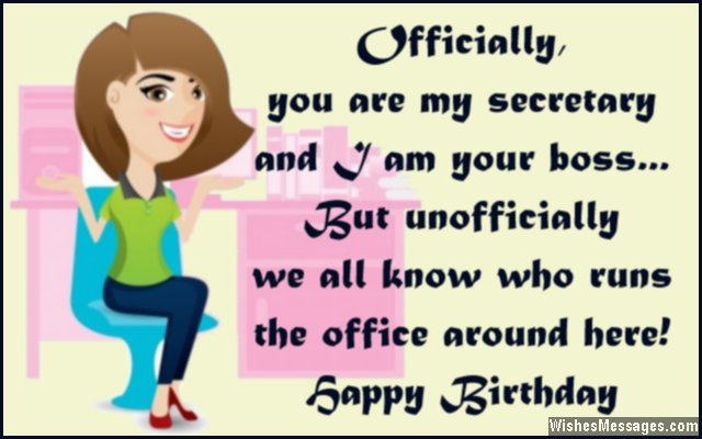 funny birthday message for boss from staff ; Humorous-birthday-quote-to-secretary-in-office