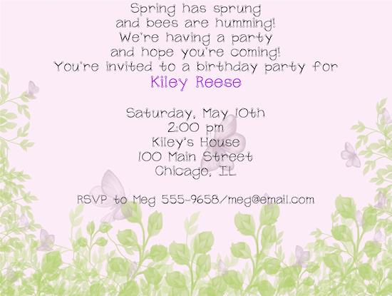 garden birthday party invitation wording ; 3496l