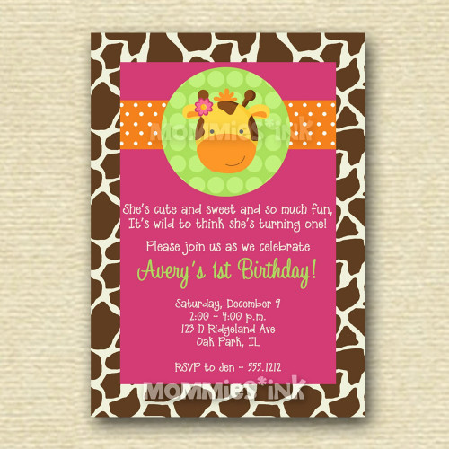giraffe 1st birthday invitation ; 566fdd554a6347e85d248291475a4093f091b04aab052d5c8be8946b51c7855e