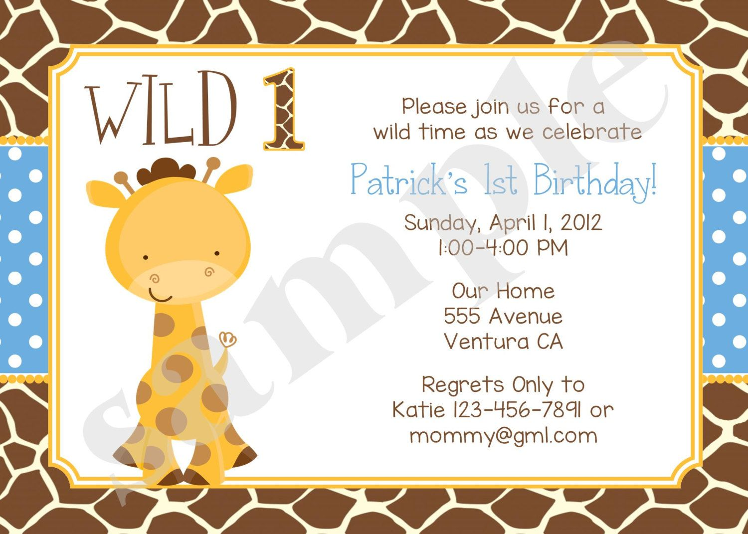 giraffe 1st birthday invitation ; 6e522086aac922fafdc4eb3afac71929