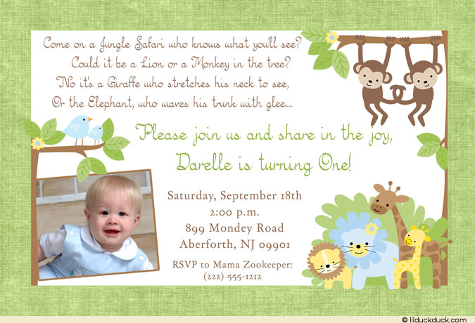 giraffe 1st birthday invitation ; Jungle-Safari-1st-birthday-boy-photo-green-monkey-lion-elephant