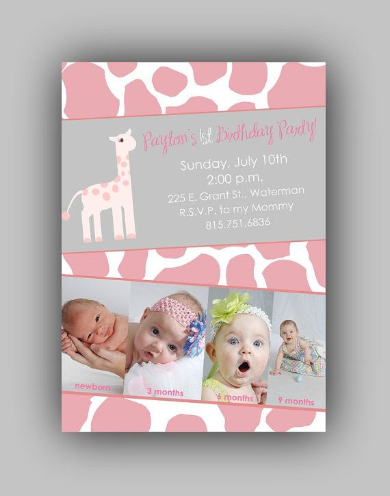 giraffe 1st birthday invitation ; a9068eb70dc5d0ff9db5050fe626a6b4