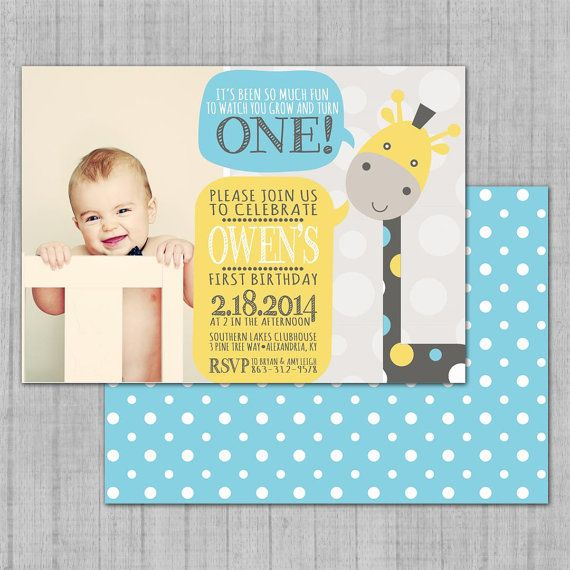 giraffe 1st birthday invitation ; bb3cee6957153ce663daecb7754d3fa3
