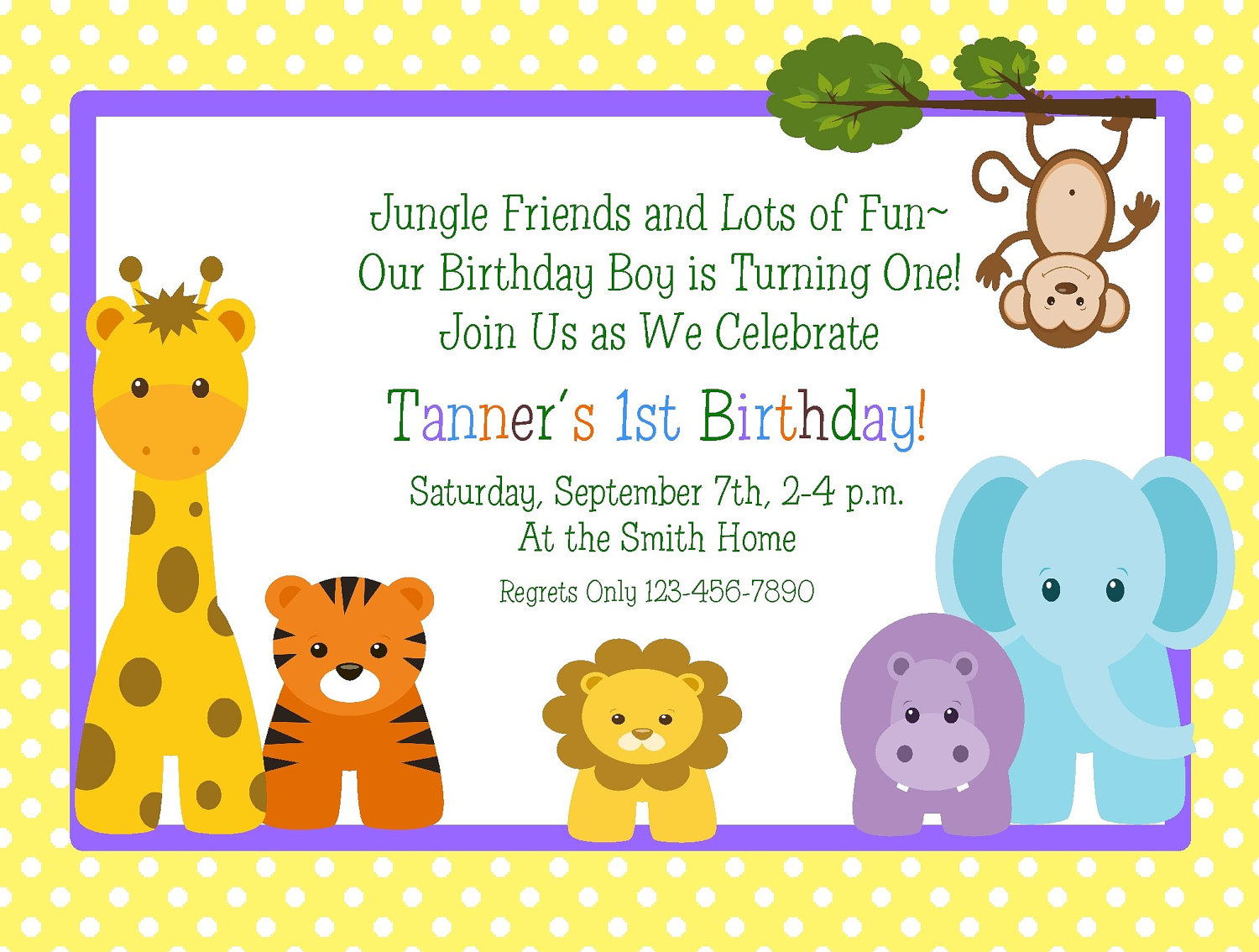 giraffe 1st birthday invitation ; birthday-jungle-animals-themed-1st-birthday-invitation-design-idea-with-giraffe-tiger-lion-elephant-and-monkey