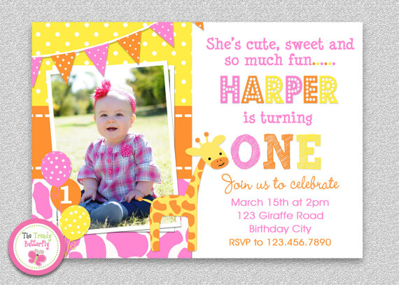 giraffe 1st birthday invitation ; il_570xN