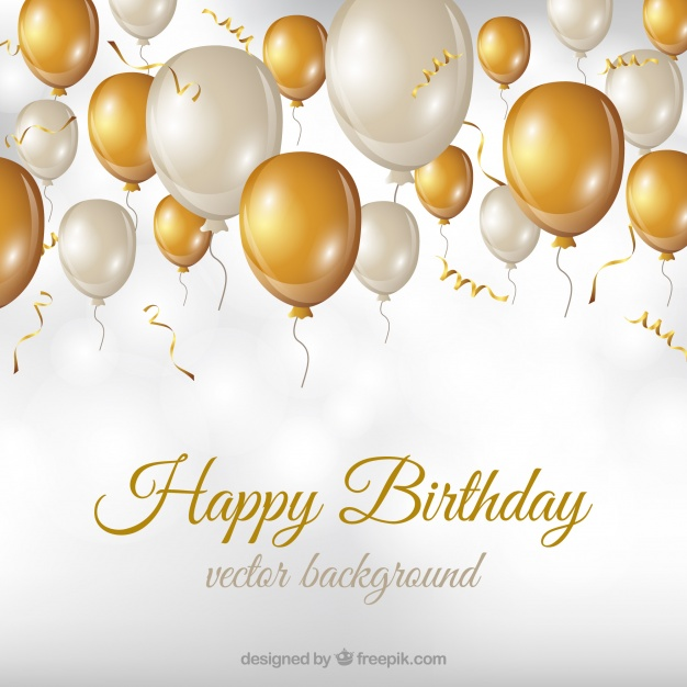 golden birthday background ; birthday-background-with-white-and-golden-balloons_23-2147648236