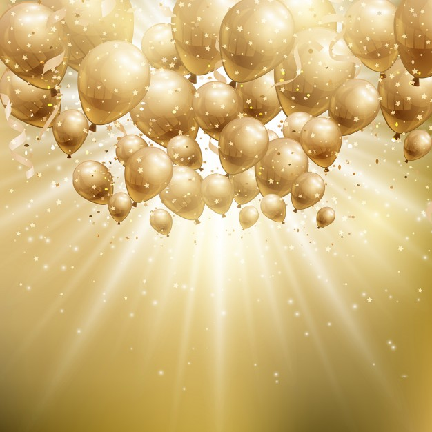 golden birthday background ; bright-background-with-gold-balloons-for-birthday_1048-3183