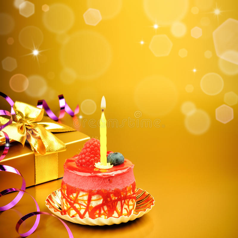 golden birthday background ; colorful-birthday-cake-candle-golden-background-47959676