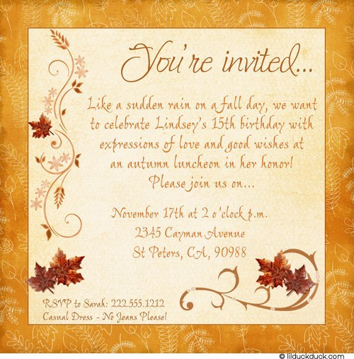 golden birthday invitation wording ; chic-fall-sweet-15th-birthday-invitation-leaves
