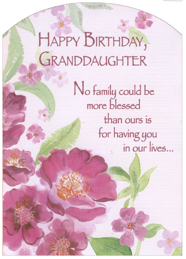 granddaughter birthday card images ; cd11289-pink-flowers-glitter-z-fold-granddaughter-birthday-card