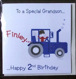 grandson 2nd birthday card ; grandson-2nd-birthday-card-awesome-personalised-handmade-tractor-birthday-card-grandson-son-etc1st-of-grandson-2nd-birthday-card
