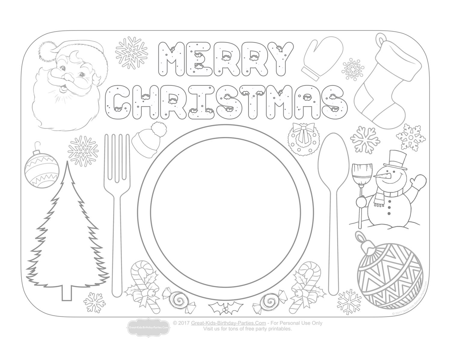 great kids birthday parties ; christmas-placemats