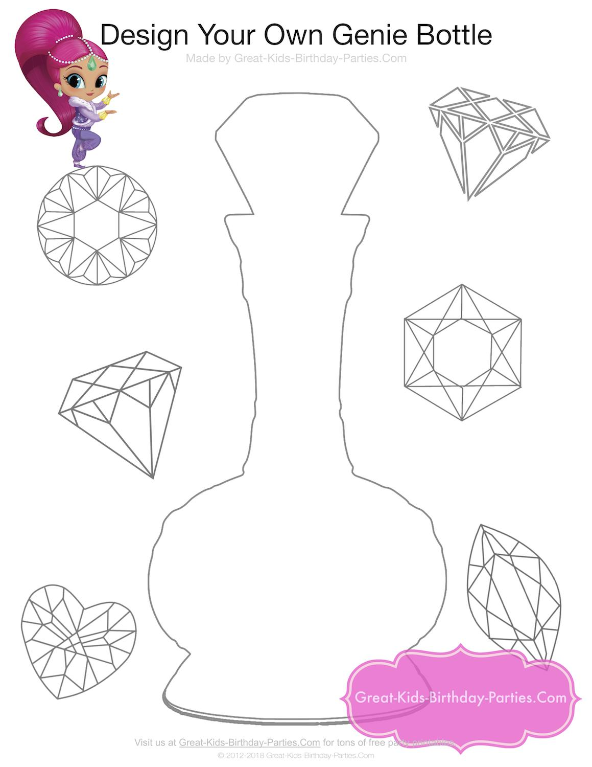 great kids birthday parties ; genie-bottle-coloring-page