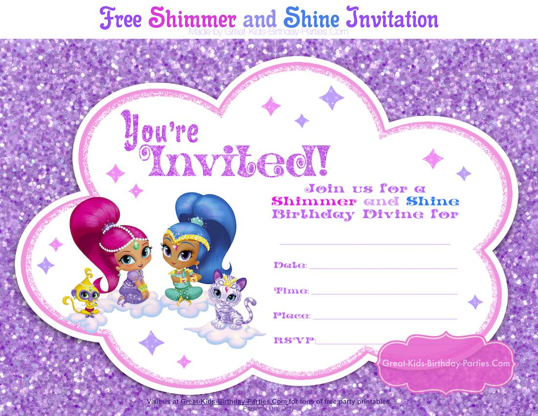 great kids birthday parties ; shimmer-and-shine-invitation