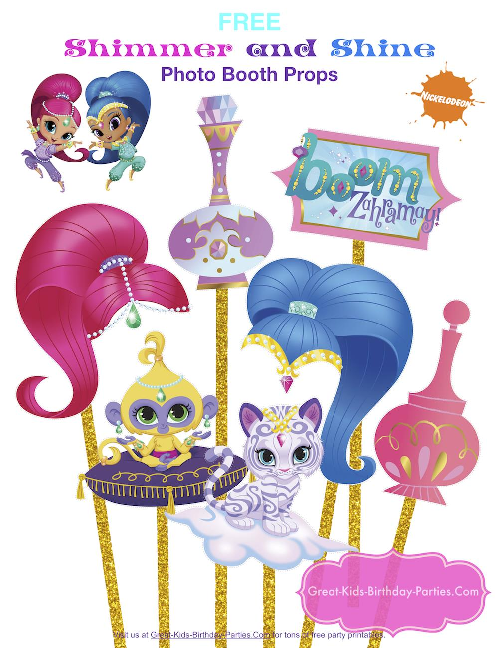 great kids birthday parties ; shimmer-and-shine-photobooth-props