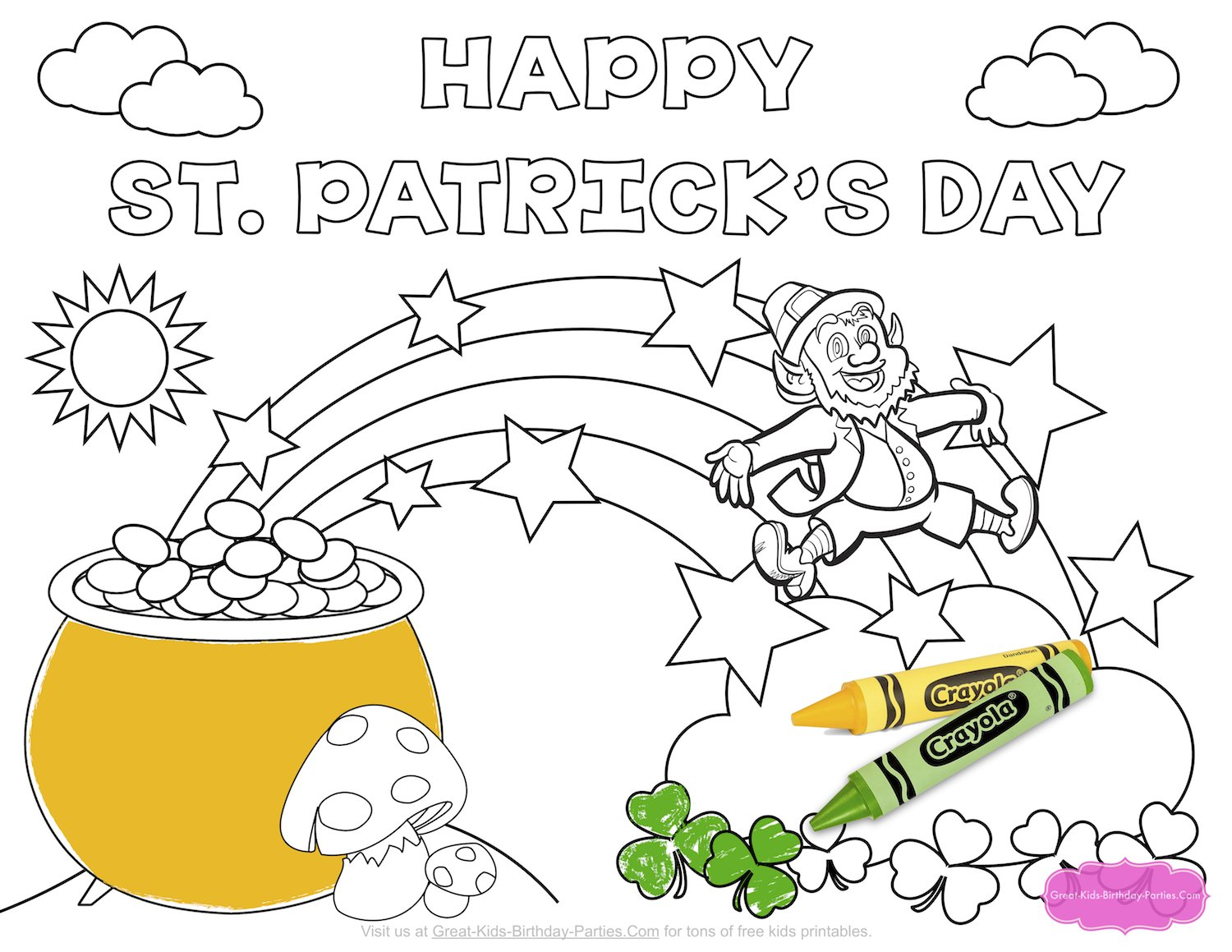 great kids birthday parties ; xst-patricks-day-coloring-page-2