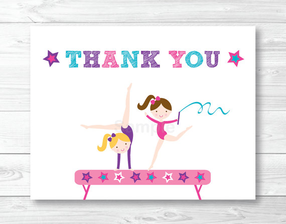 gymnastics birthday card ; il_570xN