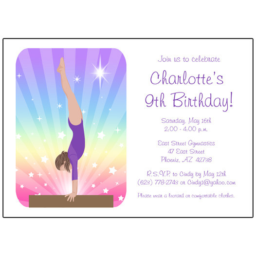 gymnastics birthday card ; inv-gdr-bm